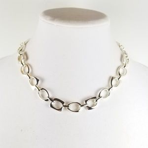 Sterling Chunky Mixed Geo Shaped Link Necklace